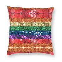 Lantejin LGBT orgulho bandeira quadrado travesseiro cair travesseiro bling glitter casual fronha