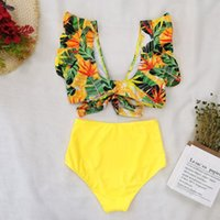 Women's Swimwear Ruffled Bikini Printed Swimsuit 2021 Summer Split Fashion Women Two Piece Set Bathing Suits Beach Dress