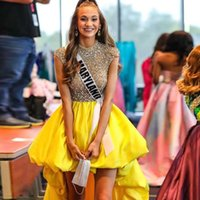 Yellow High Low Homecoming Dresses O Neck Crystal Top Prom Party Gown Front Short Back Long Special Occasion Dress