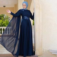 Navy Blue Muslim Evening Dresses High Collar Long Sleeve Ruched Arabic Dubai Formal Wear Lace Appliques Bead Special Occasion Dress