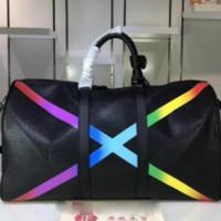مصمم الأزياء الفاخرة الكلاسيكية rainbow x شكل حقيبة سفر كبيرة وسادة واق أكياس الأمتعة حقيبة يد جلدية سعة جلد الكتف crossbody