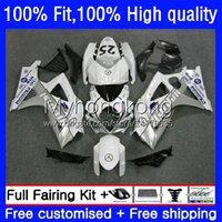 Kroppssprutning Mögel för Suzuki K7 GSXR 1000 CC 1000cc 07 08 Kroppsarbetet Vit Svart Hot 27no.42 GSXR1000 GSX-R1000 2007 2008 GSXR1000CC GSXR-1000 2007-2008 OEM Fairing Kit