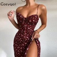 Abiti casual Cosygal Coulisstring Stampa floreale Summer Dress Summer Dress Donne Strap Backless Draped Elegante Party Strip Up Split Sexy Long Sundress