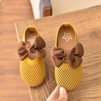 Sneakers 2021 Spring Children's Shoes Baby Girls Bowtie Princess Toddler Kids Mesh Breathable Peas Dance Footwear