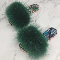 Women Flip Flops With Fur Real Fur Slippers Female Fluffy Slides Summer Sandal Crystal Bling Designer Slipper Ladies Shoes Jelly H0914