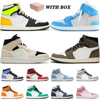 With Box 1 1s Basketball Shoes Mid Barely Orange Travis Cactus Jack Jumpman White Chicago Obsidian Off Unc Mens Women Trainers Sneakers