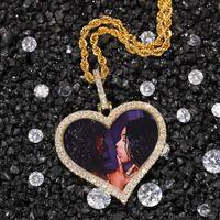Foto personalizzate Collana Moda in oro placcato oro Iced out cuore pendente collana mens monili hip hop collane gioielli