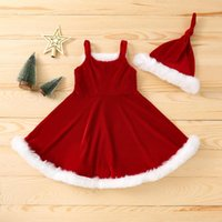 Clothing Sets 2Pcs Kids Christmas Outfit Winter Fluffy Stitching Spaghetti Strap Sleeveless Slip Dress + Knotted Hat For Girls