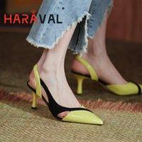 Haraval 2021New Spring Automne Pompes Chaussures Femmes Hauts talons minces pointus Toe Femmes jeunes couleurs mélangées Sexy Chaussures élégantes A175