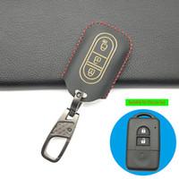 Övgü Deri Araba Anahtar Fob Shell Kapak Kılıf Nissan Qashqai Micra Juke X-Trail Navara Note Tiida Pathfinder 3 Düğmeler Uzaktan Kumanda