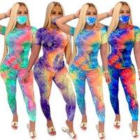 Women Tracksuits Fashion Tie Dye Three Piece Set Ladies Sportswear Short Sleeve Tops Pants Mask Female Outfits Yoga Suits 050902