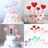 기타 이벤트 파티 용품 4pcs 사랑 풍선 생일 케이크 카드 빨간색 보라색 토퍼 장식 디저트 사랑스러운 선물