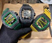 الرجال ووتش ألياف الكربون ثلاثة إبرة سلسلة المطاط حزام الجوف التكنولوجيا الأصلية المستوردة الحركة الميكانيكية الكريستال الزجاج 43 ملليمتر