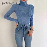 DwotwinStyle белый корейский вязаный свитер для женщин водолазка с длинным рукавом осень тонкий пуловер женская одежда мода новый 2021