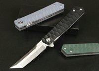 Promotion Flipper Folding Knife 8Cr14Mov Satin Tanto Point Blade G10 + Stainless Steel Sheet Handle Ball Bearing Fast Open EDC Pocket Knives
