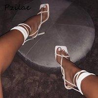 Venda quente-verão mulheres sandálias estreita faixa vintage quadrado dedo do pé alto salto alto cruz tanga sandálias mulheres v forma design sapatos mulheres
