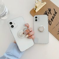 Newest Transparent TPU cell phone cases 1.5MM straight-edge with mirrored ring holder 2 in 1 mobile phones case suitable for multiple brands of mobilephones