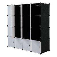 US-freies Verschiffen schnelle Lieferung Kunststoff Home Storage White Cube Organizer für Kleidung 35 * 45 cm Schwarz langlebige PP-Schrank