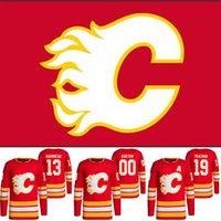 Calgary Flames 13 Johnny Gaudreau 2021-22 Home Red Jersey 19 Matthew Tkachuk 5 Mark Giordano 23 Sean Monahan 11 Mikael Backllund Michael Frolik Hokey Formaları