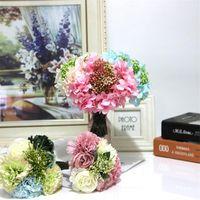 Decorative Flowers & Wreaths Bouquet Of Silk Hydrangeas Artificial Peony Hydrangea Green Plant Wedding For Bride Hand Home Decoration