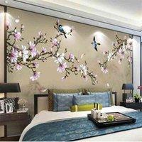 Wellyu personalizzato su misura murales stile cinese dipinto a mano magnolia fiori e uccelli sfondo verde carta da parati verde