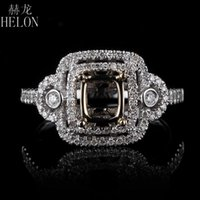 Cluster Rings HELON 4.5x5-6.5x7mm Cushion Cut Solid 14K White Yellow Gold Fine Jewelry Pave 0.3ct Real Natural Diamond Semi Mount Ring Setti