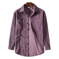 Men's Jackets Lightweight Fashion Turn-down Collar Corduroy Shirt Soft For Travel