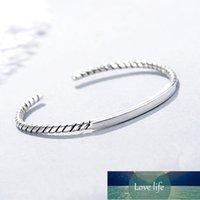 925 Ayar Gümüş Büküm Halat Küboid Tay Gümüş Bileklik Moda Kadınlar Için Basit Açık Manşet Bilezikler Takı S-B285