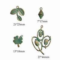 Charms 1lot Verdigris Patina Plated Vintage Zinc Alloy Shell Leaf Flower Pendant For DIY Jewelry Earring Making