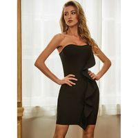 2021 New Hot Sale Bodycon Bandage Sexy Sleeveless Ruffles Black Women Summer Fashion Evening Party Vestido Pk4l