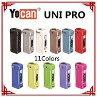 Auténtico Yocan Uni Pro Box Kit Mod Kit Batería de 650mAh Precalentamiento VV Baterías de voltaje variable con adaptador magnético 510 para cartucho de aceite grueso