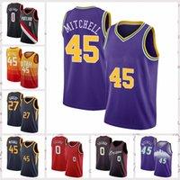 2021 Düşük Fiyatlı Erkekler Retro Klasik Basketbol Jersey Mitchell 45 Donovan Lillard 0 Damian Gobert 27 Rudy Vintage Nefes Kısa Boyutu S-2XL Mavi Beyaz Siyah Kırmızı
