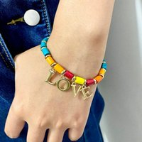 Charm Bracelets Rainbow Mini Cylinder Wood Beads Love Letter For Women Initial Bracelet Bohemian Creative Jewelry Wholesale