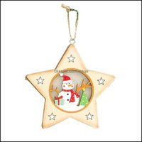 Decorations Festive Party Supplies Home & Gardenchristmas Glow Painted Wood Snowman Hanging Pendant Christmas Tree Decoration Decor Ornament