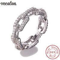 Vecalon Luxury Ювелирные Изделия 100% Солидь 925 Стерлинговое кольцо стерлингового серебра 5А Zircon CZ Обращающиеся с обручальными кольцами для женщин мужчин