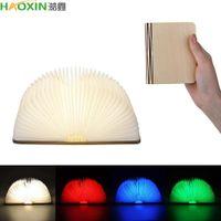Haoxin 휴대용 5 색 3D 크리 에이 티브 LED 책 밤 빛 나무 5V USB 충전식 마그네틱 접이식 책상 테이블 램프 홈 장식