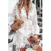 Casual Dresses Summer Women Bikini Cover Up Floral Lace Hollow Crochet Swimsuit Cover-Ups Bathing Suit Beachwear Tunic Beach Dress