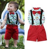 1-5y crianças bebê menino terno de verão roupas conjuntos sem mangas bowtie cavalheiro camisa bib pants outfit conjunto