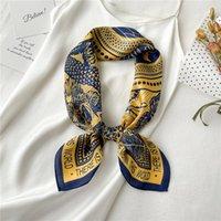 Scarves Wrist Neckerchief Shawl Wraps 70*70cm Luxury Print Silk Satin Head Band Women Scarf Femele Hair Accessories Hand Bag