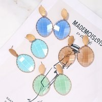 Geometric Glass Dangle Earrings for Women Fashion Candy Color Crystal Pendant Vintage Jewelry Personality
