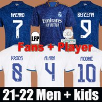 Real Madrid Jerseys 21 22 كرة القدم قمصان كرة القدم بعيدا الأزرق المشجعين المشجعين النسخة 2021 2022 Alaba Hazard البنزيما Asensio Madric Marcelo Camiseta Men + Kids Kit Set