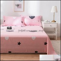 Sheets Bedding Supplies Textiles Home Gardensheets & Sets 100% Cotton Stars Flat Sheet For Children Adts Single Double Bed Bedsheets (No Cas