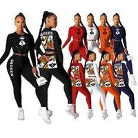 Kadınlar İki Parçalı Kalem Pantolon Kıyafetler 2021 Siyah Kraliçe Spade Q Bayanlar Lace Up Bel Tee Üstleri Takım Aktif Giyim Eşofman
