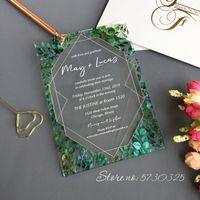 Kostenloser Versand Laserschnitt Acrylformen benutzerdefinierte Acryl-Hochzeits-Einladung Transparente Einladung Eukalyptus-Design-Hochzeitskarten