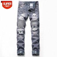 Nostalgic Strappato Jeans Motociclistico Straight-Leg European European Trendy Bendy Beddar Personality Pantaloni per personalità # DL34