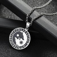 Pendant Necklaces Wolf Sun Moon Stainless Steel Norse Vikings Necklace For Woman Jewelry