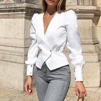 Ofis Lady Seksi V Boyun Bluz Kadın Fener Uzun Kollu Üst Bluzlar Artı Boyutu Zarif Katı Gömlek Düğmesi Blusas Worklear SJ5608V