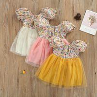 Girl's Dresses Princess Dress Summer Breathable Little Girls Dress,Toddlers Creative Floral Printing Mesh Splicing Backless Short Sleeve