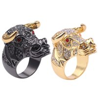 Men's Alloy Bull Head Full Diamond Ring Fashion New Personality Domineering Wedding Rings Luxury Male Female Vintage Engagement For Men And Women