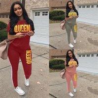 Kadınlar Yaz Tasarımcı Eşofman Kraliçe Damgalama Altın Harfler Baskılı Kısa Kollu T Shirt Pantolon Tayt İki Parçalı Kıyafet Spor HH2103
